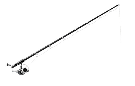 spinning: Fishing rod spinning isolated on white background. 3d illustration.