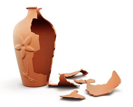 壊れた粘土の花瓶は、白い背景で隔離。3 d のレンダリング イメージです。