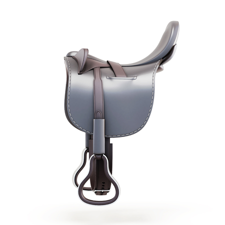 saddle: Side view of the saddle isolated on a white background. 3d rendering. Stock Photo