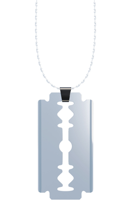 dissect: Pendant razor blade isolated on white background. Vertical view. 3d rendering.