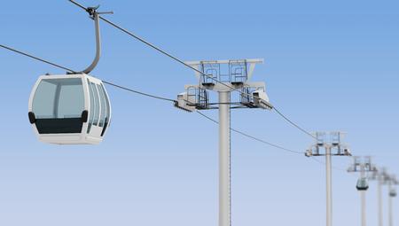 Funiculaire et téléphérique sur fond de ciel bleu. rendu 3d.