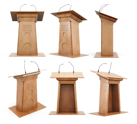 speaker: Set of wooden podium tribune with microphones isolated on white background. 3d rendering.