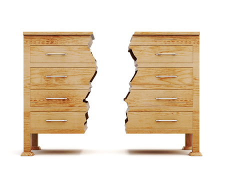 highboy: Two halves of dresser isolated on white background. Wooden chest. Conceptual image. Front view. 3d rendering