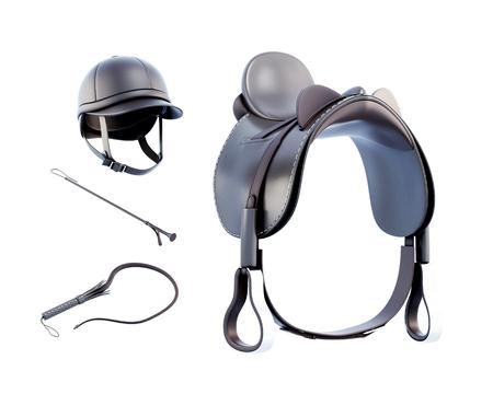 ヘルメット、サドル、白い背景で隔離の乗馬鞭。3 d レンダリング。