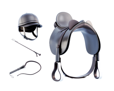 horse racing: Helmet, saddle, whip for riding isolated on white background. 3d rendering. Stock Photo