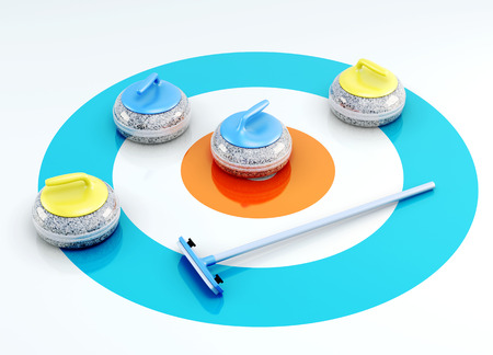 Curling stones and brush on the ice. 3d render image. Stock Photo