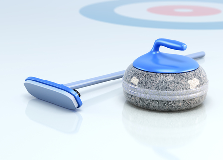 sportsmanship: Stone and brush for curling on ice. 3d render image.
