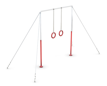 cross bar: Horizontal bar with rings on white background. 3d rendering. Stock Photo