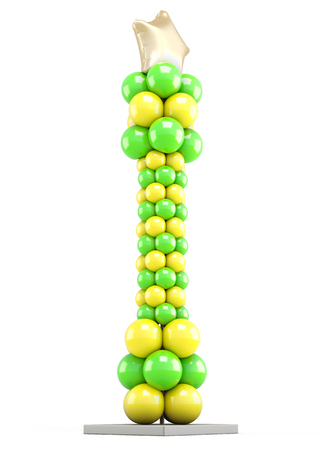 catchy: Column of colored balloons isolated on white background. 3d illustration. Stock Photo