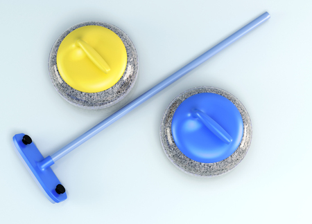 olympic game: Top view of the curling stones and brush the ice. 3d rendering.