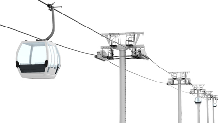 cable car: Funicular and cable car isolated on white background. 3d rendering.