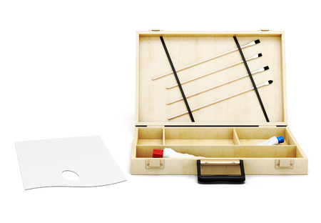 painter's palette: Open the case and painters palette on white background. Front view. 3d rendering