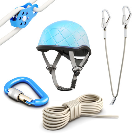 safety harness: Rock climbing equipment on white background. 3d rendering.