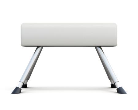 pommel: Pommel horse isolated on white background. Side view. 3d rendering.