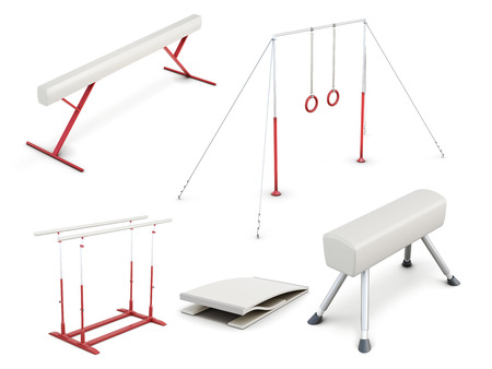Set of gymnastic equipment isolated on white background. Sport equipment. 3d rendering