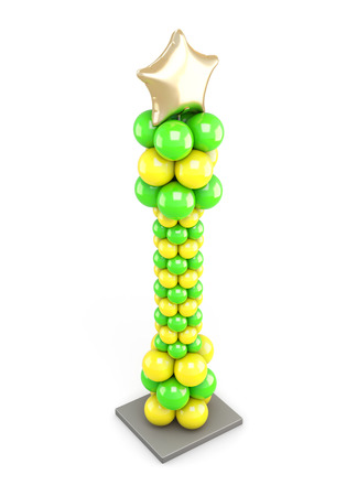 catchy: Column of colored balloons on white background. Top view. 3d illustration Stock Photo