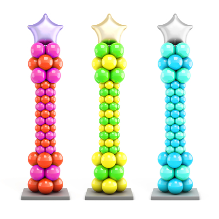Set of columns of balloons on a white background. 3d rendering.