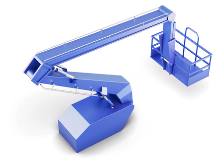Blue cherry picker platform isolated on white background. 3d rendering.