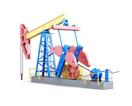 oil well pumper: Oil well pump isolated on white background. 3d render image. Stock Photo