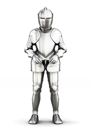 full metal jacket: Armor front view isolated on white background. Metal armor. Medieval armor. 3d rendering