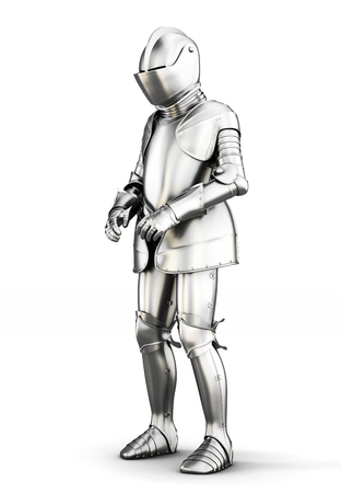 full metal jacket: Suit of armor for all body isolated on white background. Metal armor. Medieval armor. 3d rendering