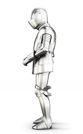 full metal jacket: Armor side view isolated on white background. Metal armor. Medieval armor. 3d rendering