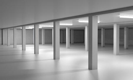 car park interior: Empty underground parking area. 3d render image. Stock Photo