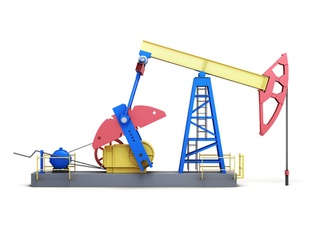 oilwell: Oil pump-jack isolated on white background. Side view. 3d rendering