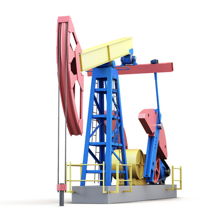oilwell: 3d oil pump-jack isolated on white.