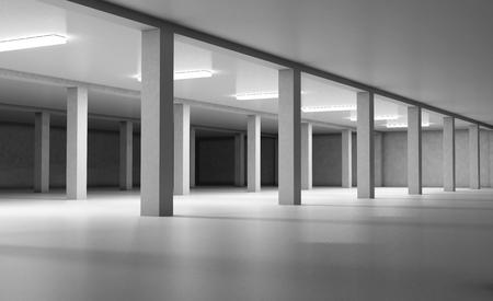 car park interior: Empty underground parking. 3d render image.