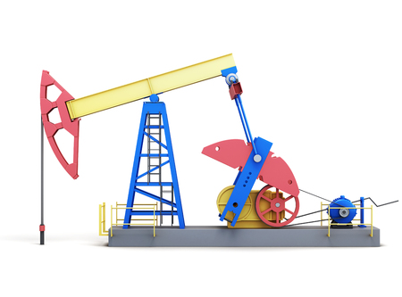 oilwell: Oil well pump isolated on white background. Side view. 3d rendering. Stock Photo
