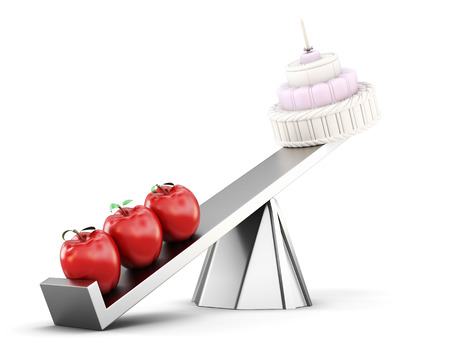 conceptual image: Conceptual image of healthy eating. Cake and apples on the scales. 3d image on white background.