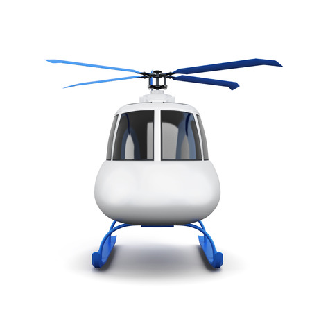 transposition: Toy helicopter isolated on white background. Front view. 3d rendering.