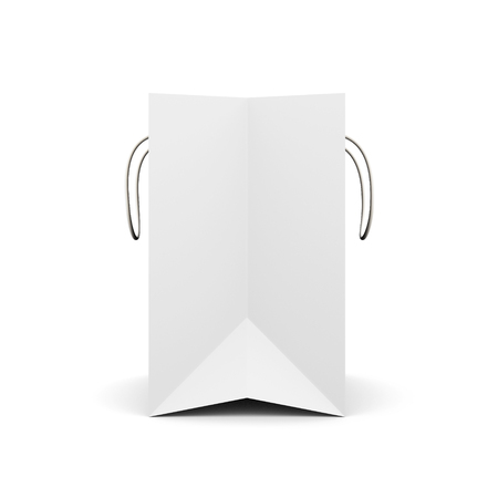white paper bag: White paper bag with handles side view. Paper white bag for your design. 3d render image on white background.