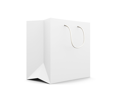 white paper bag: White paper bag with handles isolated on white background. Paper white bag for your design. 3d rendering.