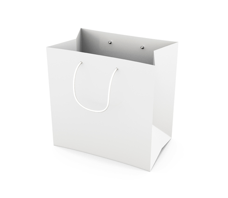 white paper bag: White paper bag with handles isolated on white background. Bag for purchase. Paper white bag for your design. 3d render image.