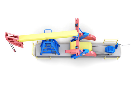 horse pipes: Oil rig pump-jack isolated on white background. Top view. 3d render image.