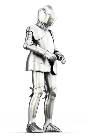 full metal jacket: Suit of armor for all body isolated on white background. Metal armor. Medieval armor. 3d render image