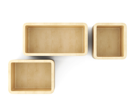 empty interior: Empty interior shelves on the wall isolated on white background. 3d rendering.