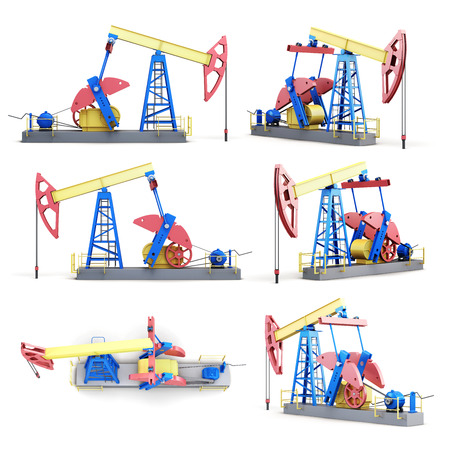 oilwell: Set of oil pump isolated on white background. 3d rendering. Stock Photo