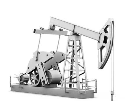 oilwell: Oil derrick isolated on white background. 3d rendering. Stock Photo