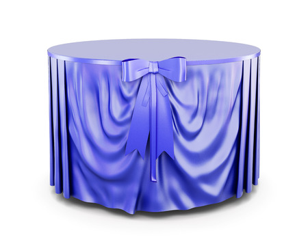 round table: Blue tablecloth on round table isolated on white background. With bow. Blue bow. Front view. 3d render image