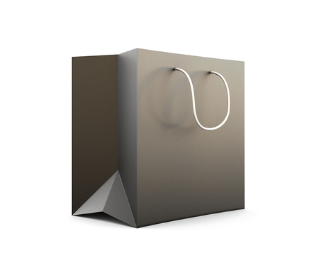 paperbag: Package for purchases the black isolated on a white background. 3d illustration.