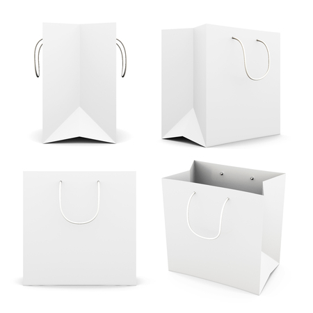 white paper bag: Set of white paper bag isolated on white background. Front view. Side view. Bag for purchase. Paper white bag for your design 3d render image