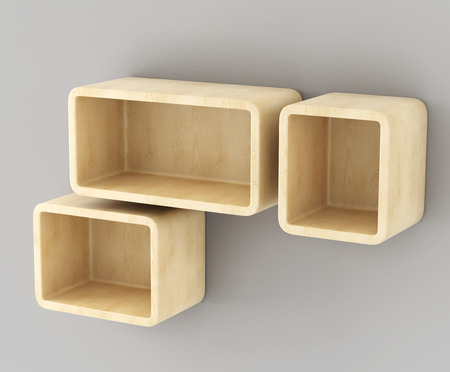 wooden shelves: Wooden shelves hanging on the wall. 3d rendering.