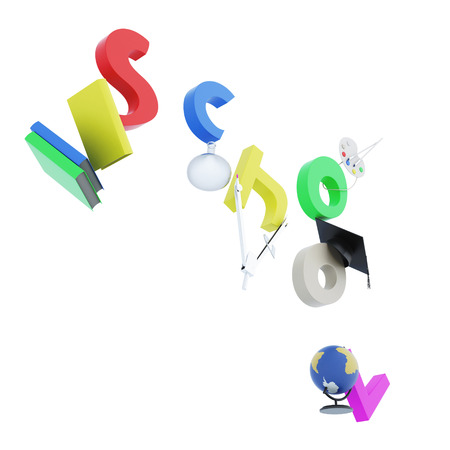 first year student: Inscription school and school accessories isolated on white background. 3d rendering. Stock Photo