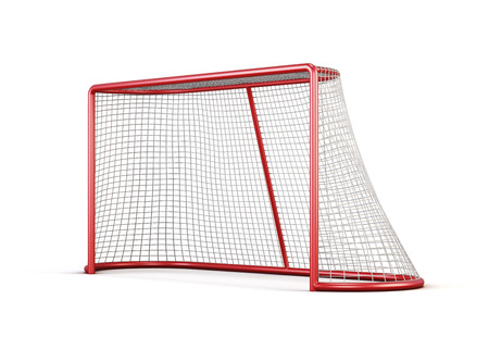Football goal with net isolated on white background. 3d render image.
