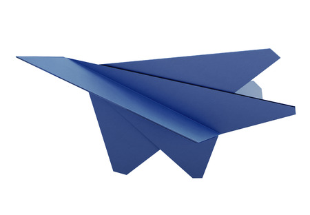 origami paper: Model paper airplane on white background. Origami plane. Blue paper airplane. 3d rendering