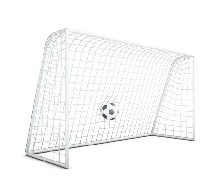 soccer net: Soccer ball in net isolated on white background. Football gate. 3d rendering