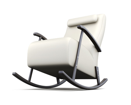 headrest: Rocking chair isolated on white background. 3d rendering.